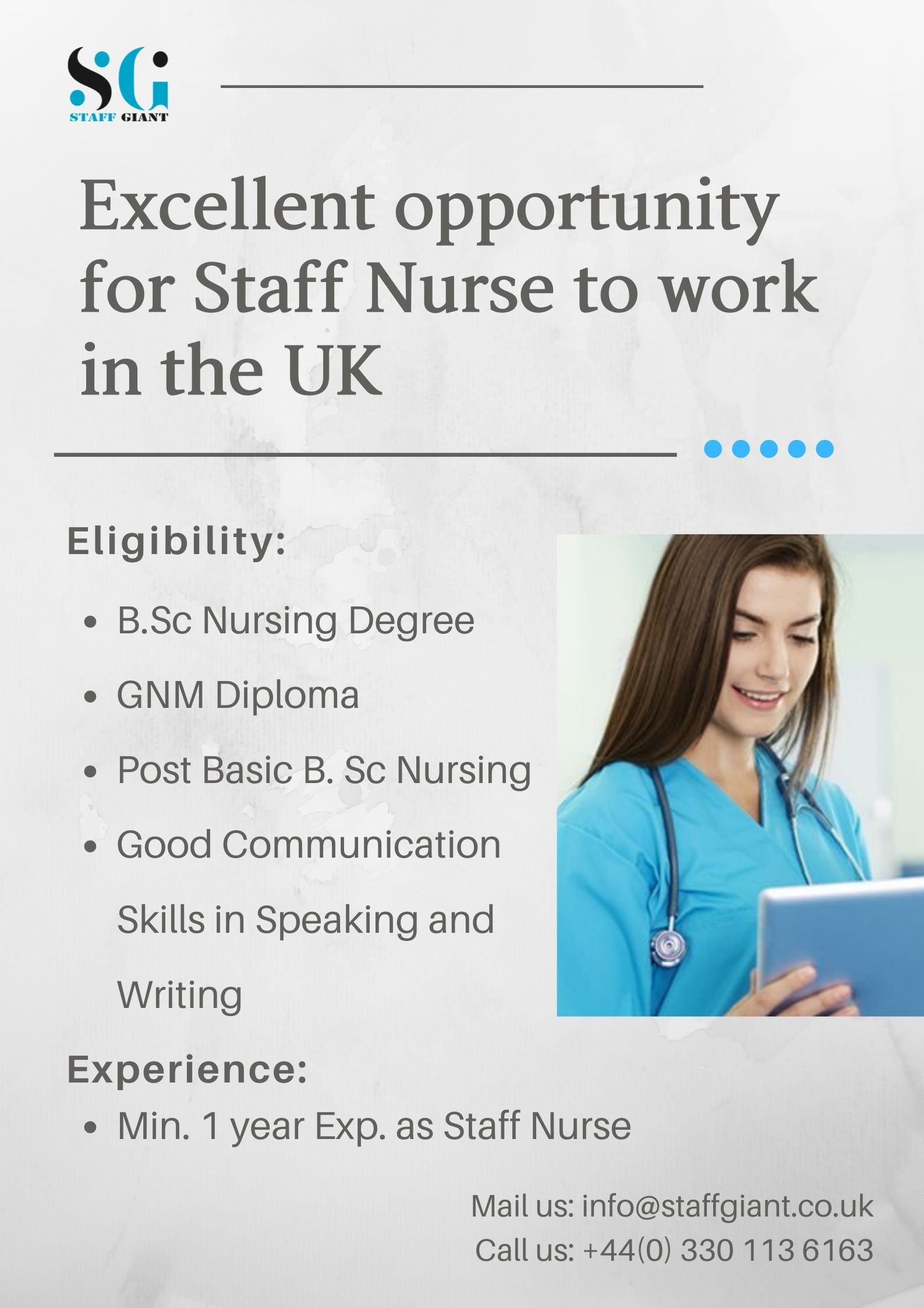 Excellent opportunity for Staff Nurse to work in the UK