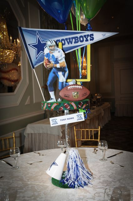 NFL Football Themed Bar Mitzvah Centerpiece With Dallas Cowboys