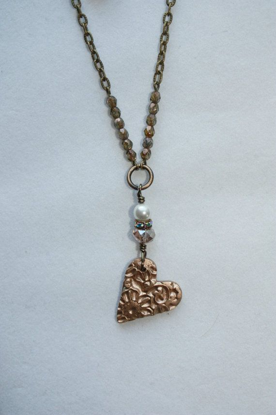 Handmade Bronze Clay Heart Pendant Necklace with Matching Earrings ...