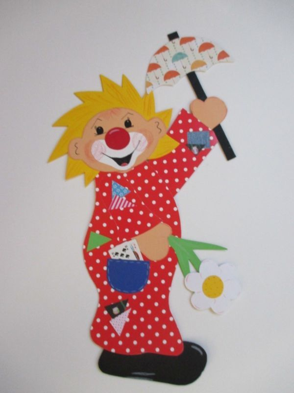 Fensterbild Tonkarton Clown Ricco Fasching Winter Deko Kinder