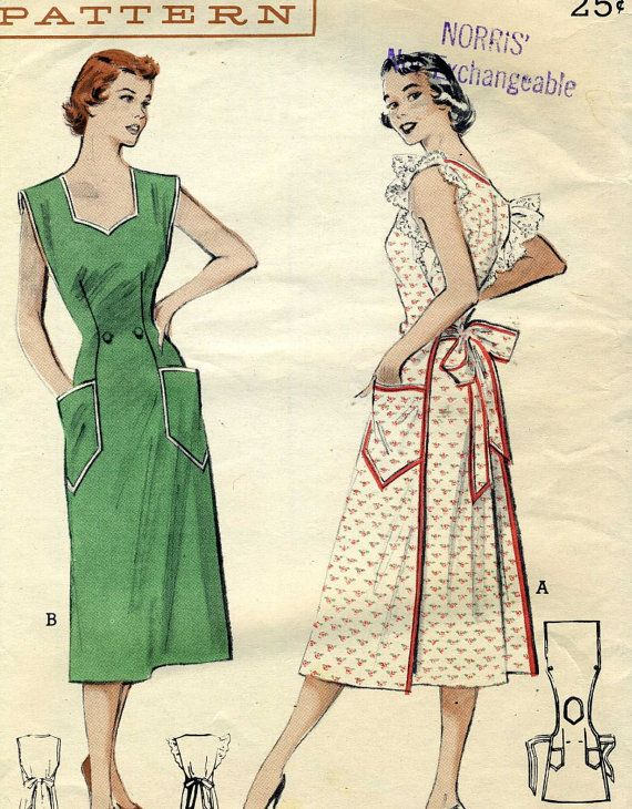 Vintage 1950s Butterick 5744 Misses Wrap Around Coverall Apron House ...