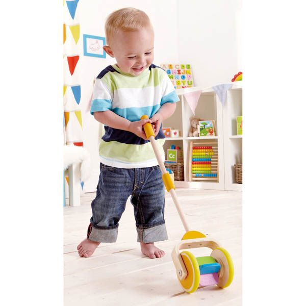 Watch all the colors of the rainbow twirl by as our Rainbow Push Toys is pushed across the floor. This toy encourages toddler to get active as he runs around and makes the colors go by faster and faster!