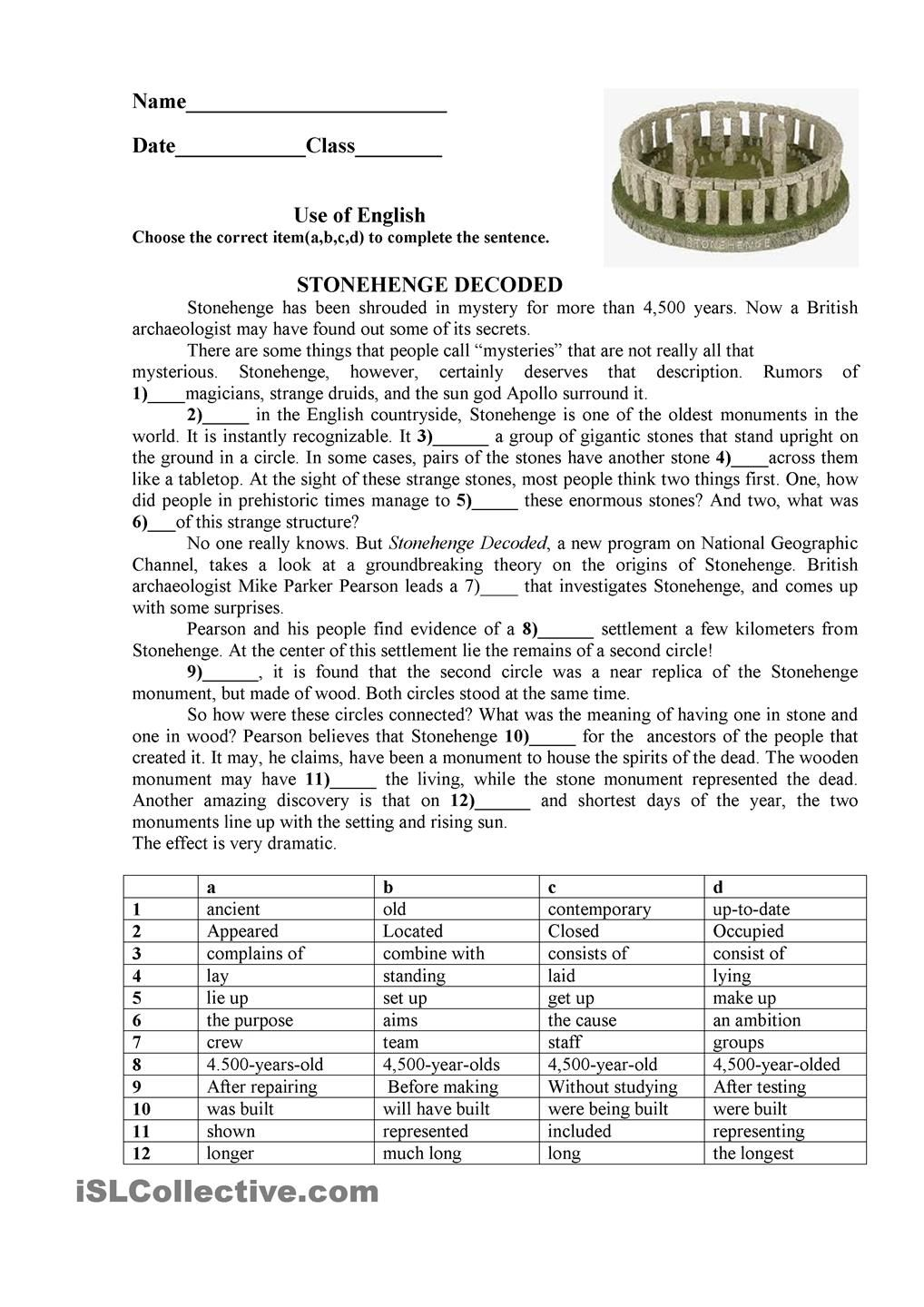 Stonehenge: ESL printable worksheet of the day on July 11, 2015 by ...