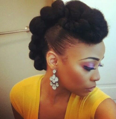 Mohawk With Marley Hair Natural Hair Updo Hair Styles Black Natural Hairstyles