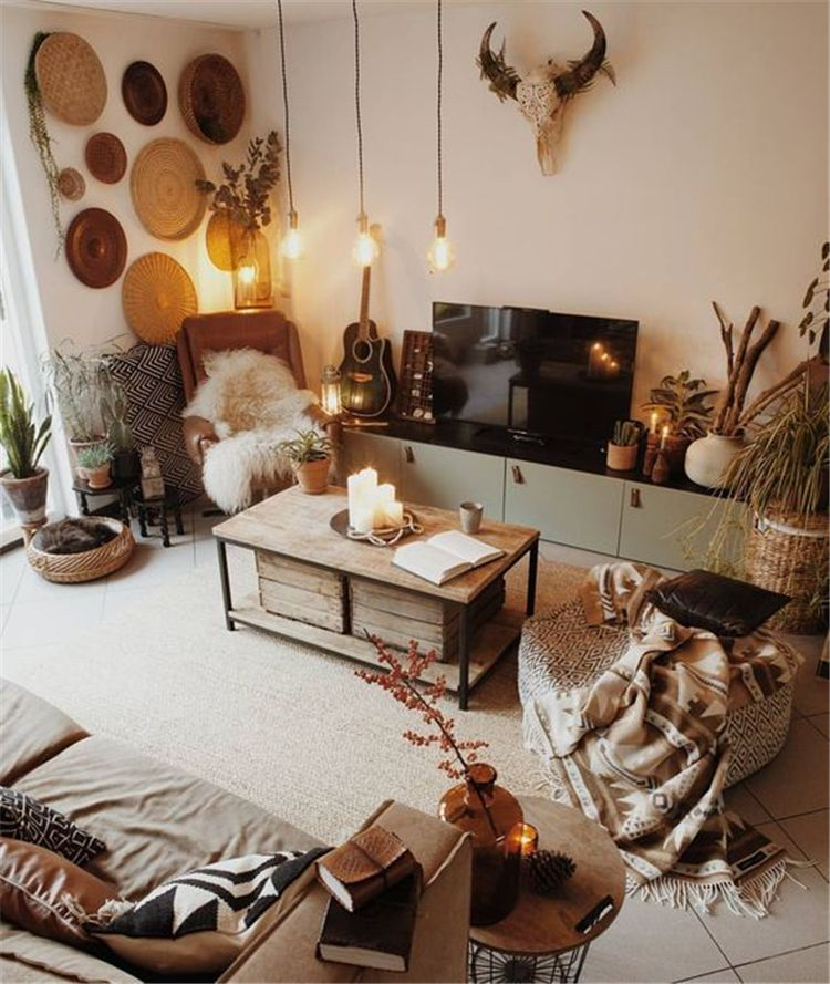 40 Cozy Rustic Living Room Decor Ideas Koees Blog Cute Home Decor Front Room Boho Interior Design