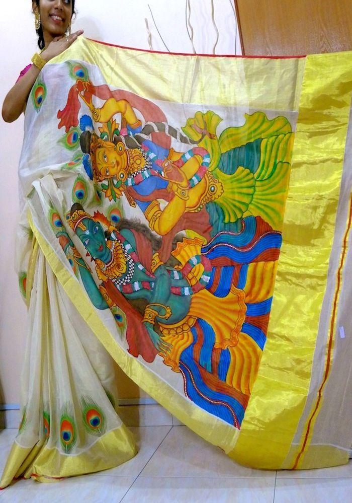 Hand paint kerala saree's (1) | Batik | Pinterest | Kerala ...  Hand paint kera...