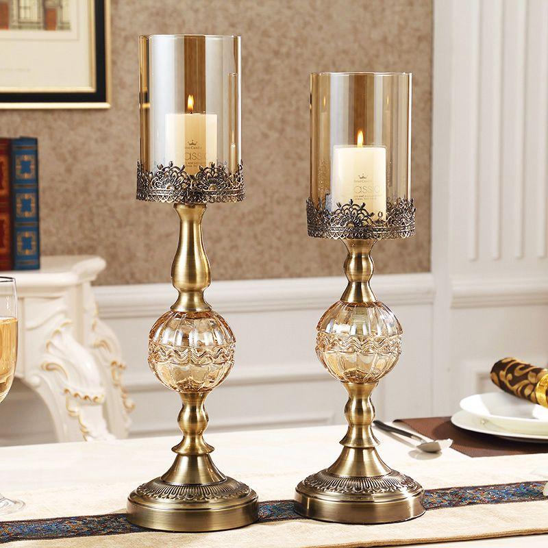 Hurricane Candleholder Bronze Luxury Dining Table Decoration Candle Holders For Home Decor Li Candle Table Decorations Candle Holder Decor Luxury Dining Tables
