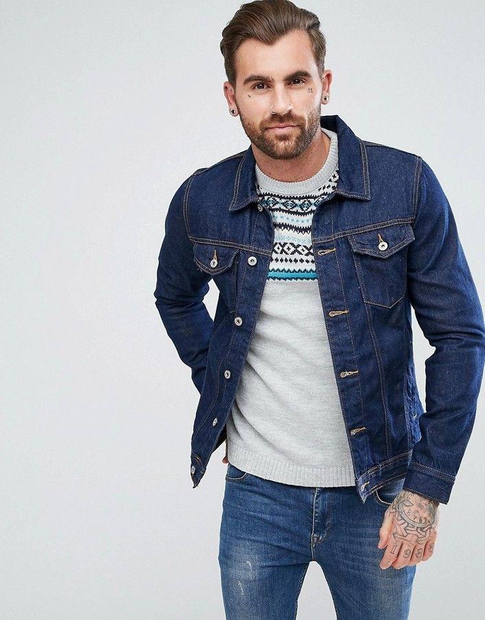 b3ac225d5f9 Pull&Bear Denim Jacket In Dark Blue | Products | Dark blue denim ...