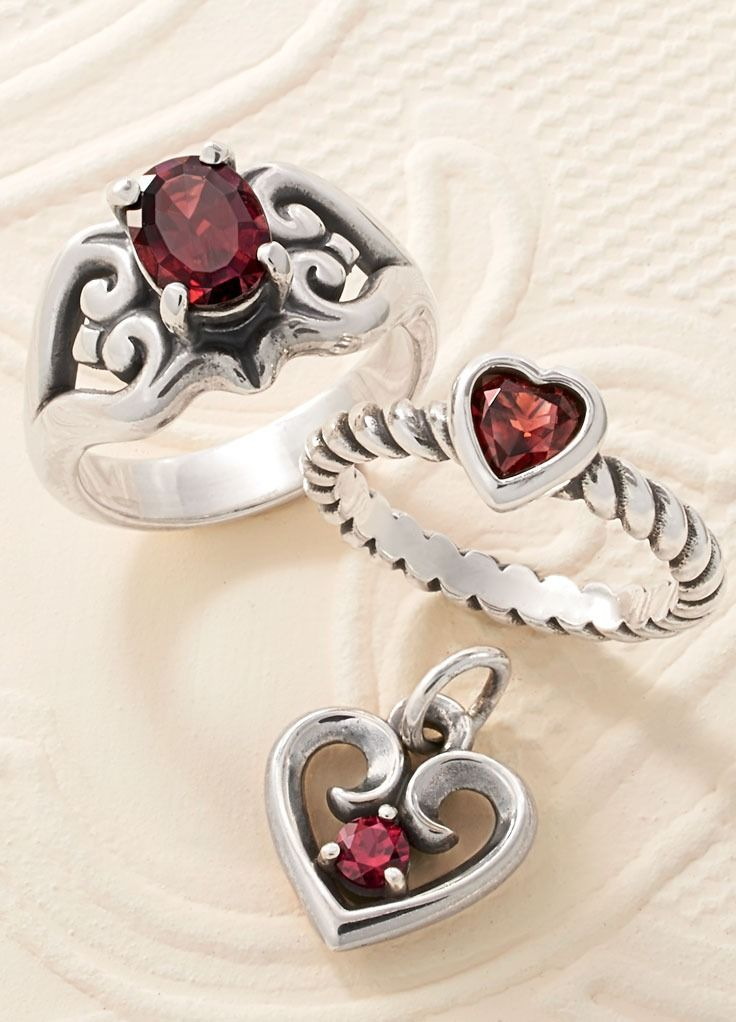 Scrolled Heart Ring With Garnet Heart With Garnet Twisted Wire Ring And Avery Remembrance Heart Pendant January Birthstone Jewelry James Avery Jewelry Jewelry