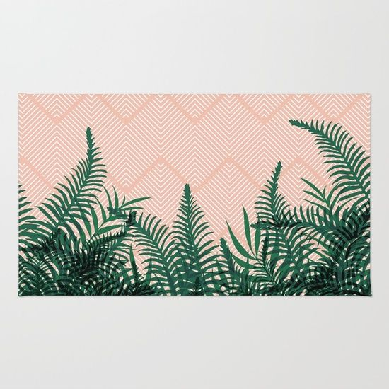 Tropical Ferns on Pink #society6 #decor #buyart Rug
