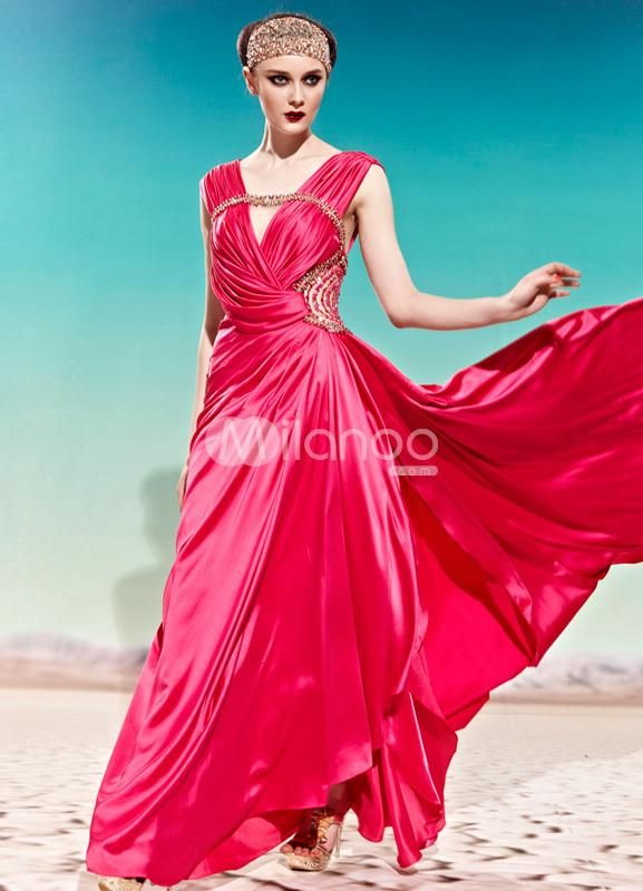 Red V-Neck A-line Rhinestone Polyester Womens Prom Dress. See More V-Neck at http://www.ourgreatshop.com/V-Neck-C936.aspx