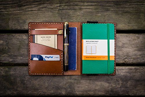 ef381c47377 Leather Pocket Moleskine Journal Cover - Brown Galen Leather  https   www.amazon
