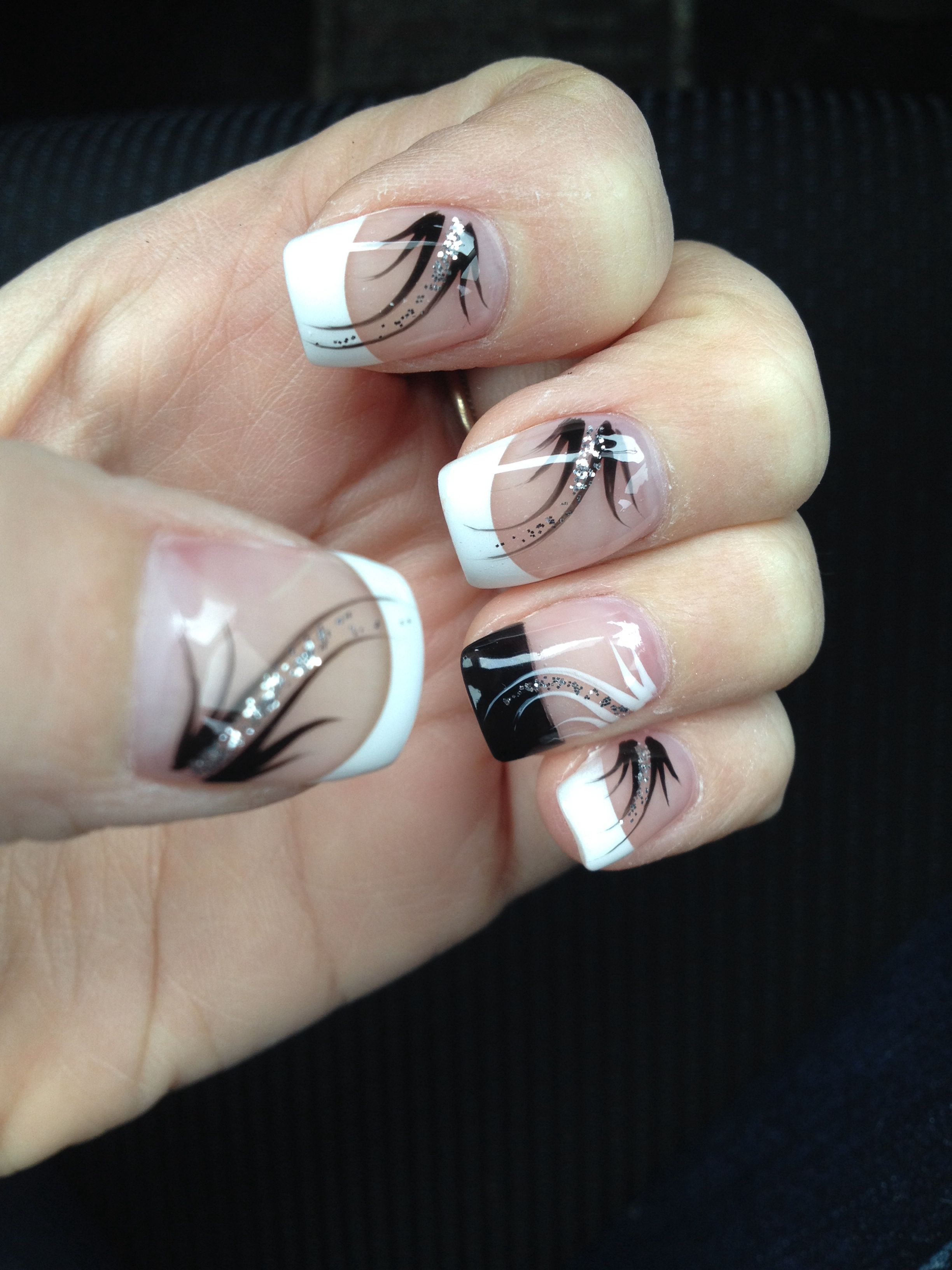 French Manicure With Black Accent Nail And Design