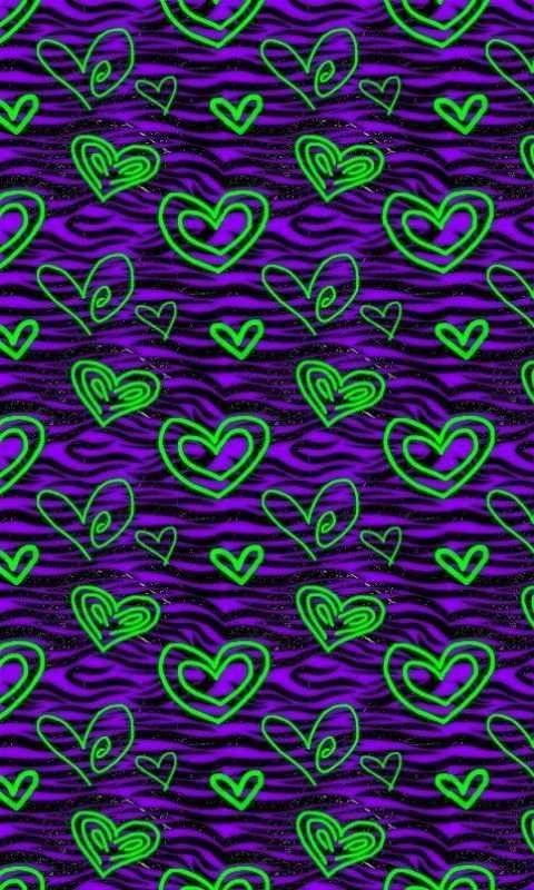 Neon Hearts Heart Iphone Wallpaper Animal Print Wallpaper Heart Wallpaper