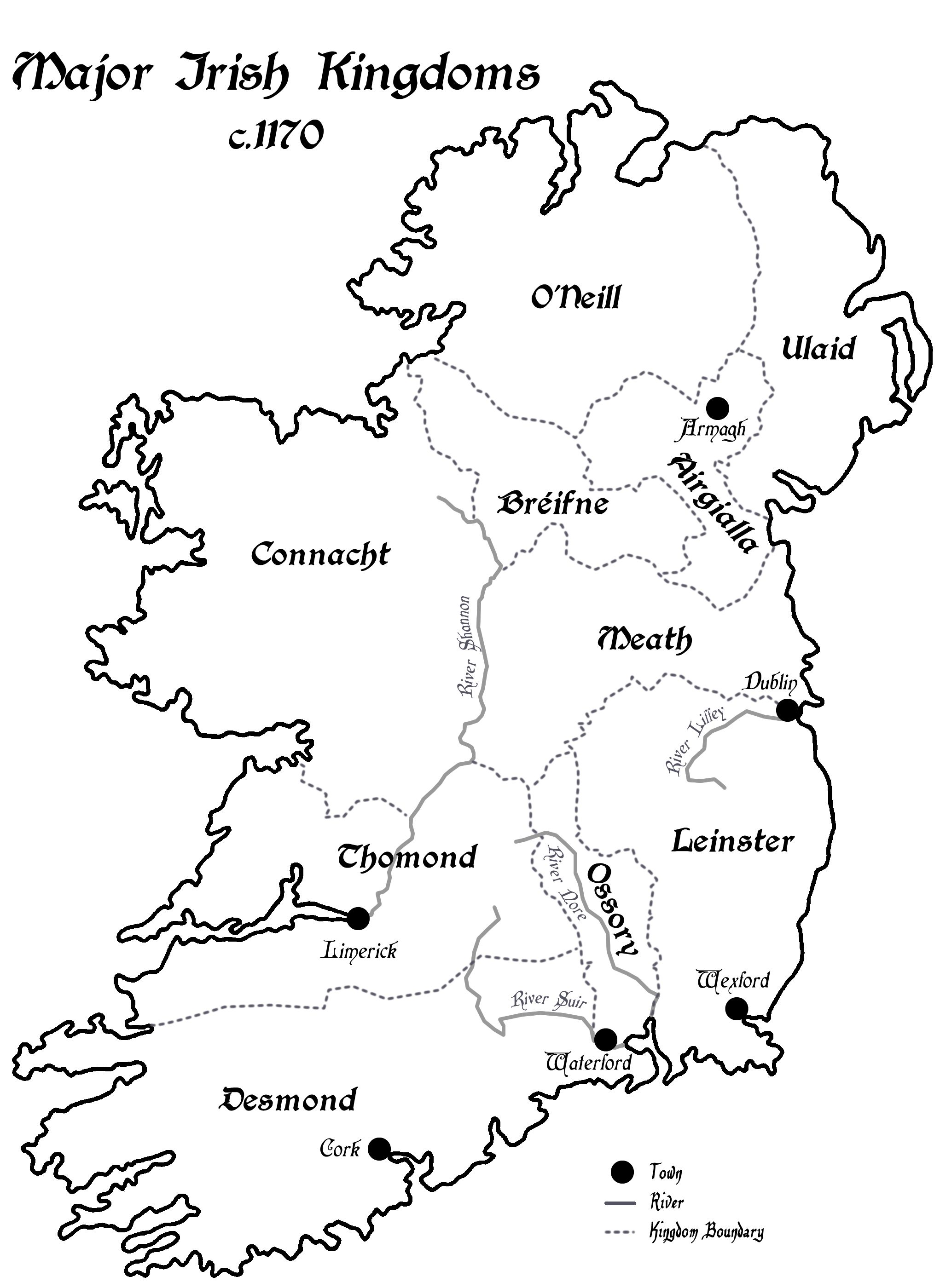 A Map Of Ireland S Rival Kingdoms C 1170 Maps And Info