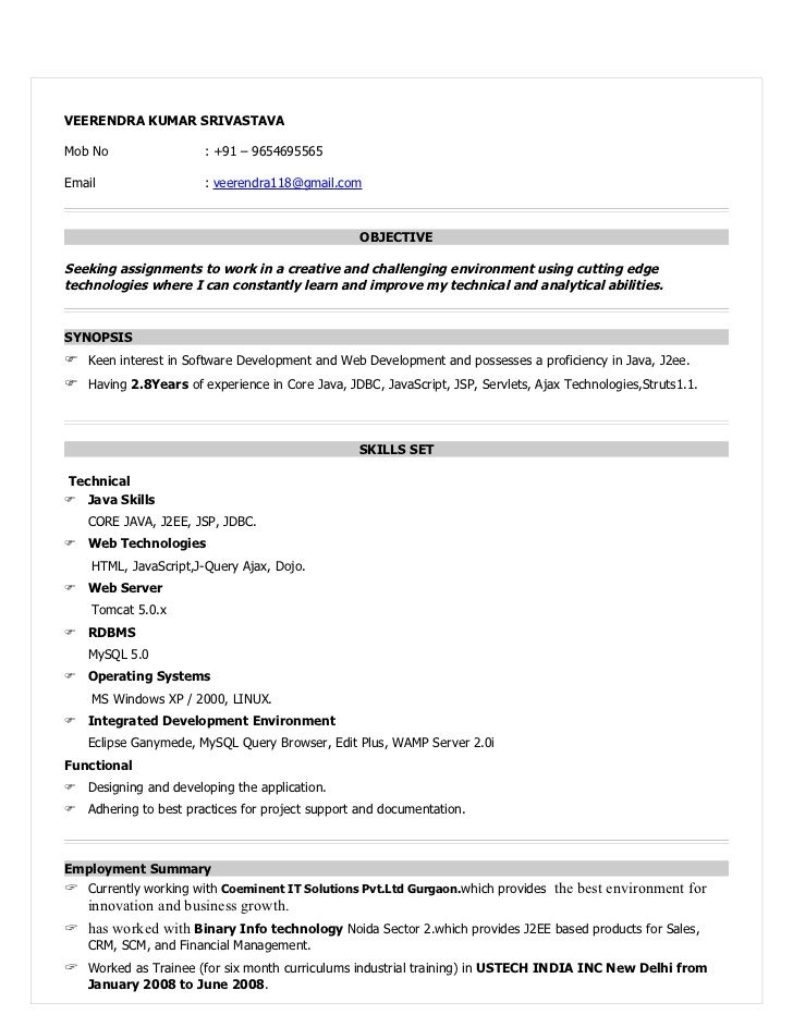 Resume Format For 6 Months Experience In Java Experience Format