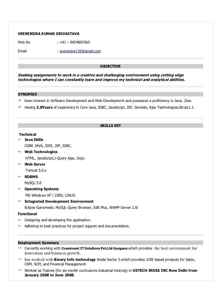 Resume For Java Devloper Sample Samples Resumes Spring Job Resume Samples Resume Format Resume Format Download