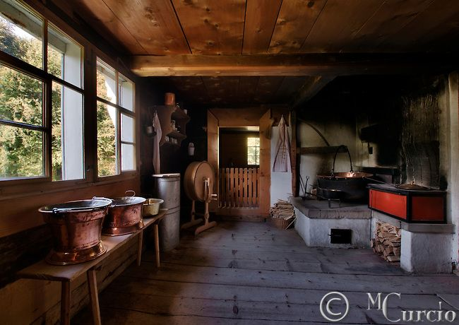 kitchen cottage farmhouse interior old wooden rural switzerland 2