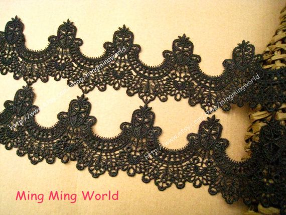 Black Lace Applique2 Yards Black Aulic Features by mingmingworld, $8.00