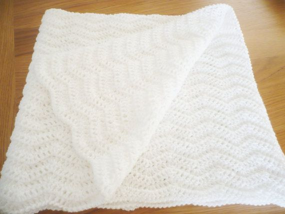 White Chevron Baby Blanket by Aalexi on Etsy