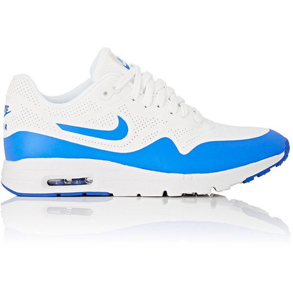 Nike Women's Air Max 1 Ultra Moire Sneakers (£99) ❤ liked on Polyvore featuring shoes, sneakers, white, white sneakers, white lace up sneakers, perforated sneakers, white lace up shoes and lace up sneakers