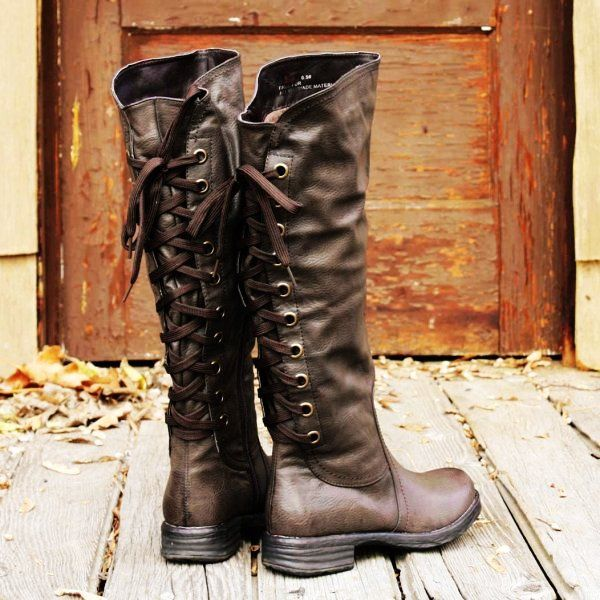 2014 New Style Black Lace up Leather Boots for Women - Knee High #Boots