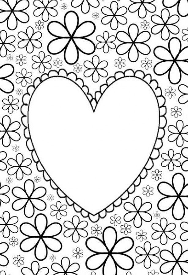 Kleurplaten Bloemen En Hartjes.Grote Mensen Kleurplaat Hart Met Bloemen Liefde