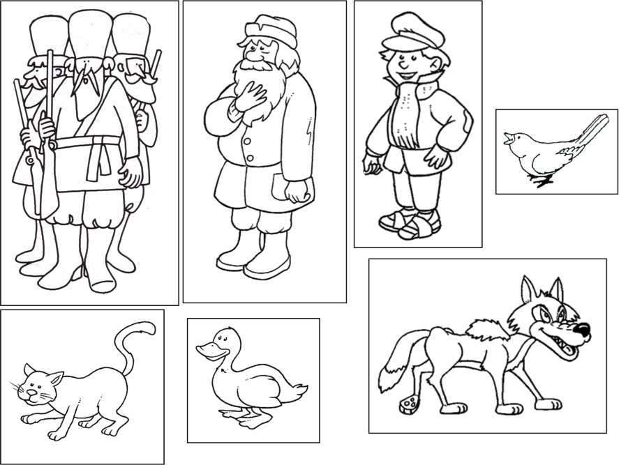 beths music notes peter and wolf characters - Peter Wolf Coloring Pages