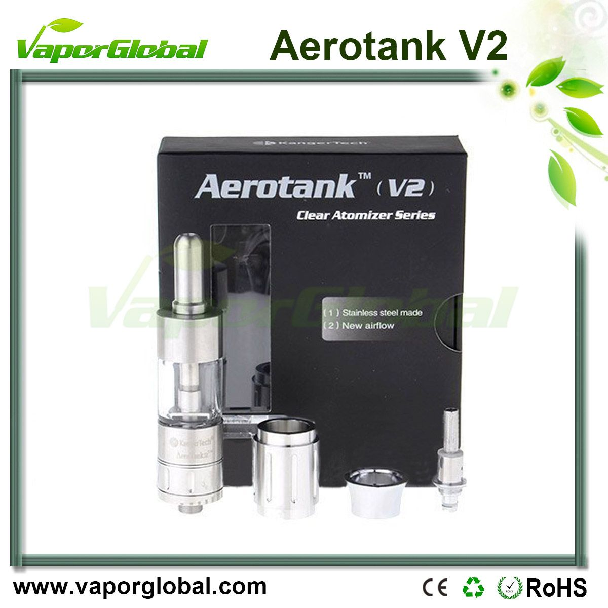 1:1 Clone Aerotank V2 BCC Clearomizer The Aerotank v2 offers the same great features and performance as the Aerotank but with a redesigned airflow valve. Turn the dial on the base to increase or decrease airflow to your preference. It also comes with a stainless steel replacement tube if glass isn't your thing. In this version the atomizer heads have also been redesigned with the wicks hidden to further prevent leakage.
