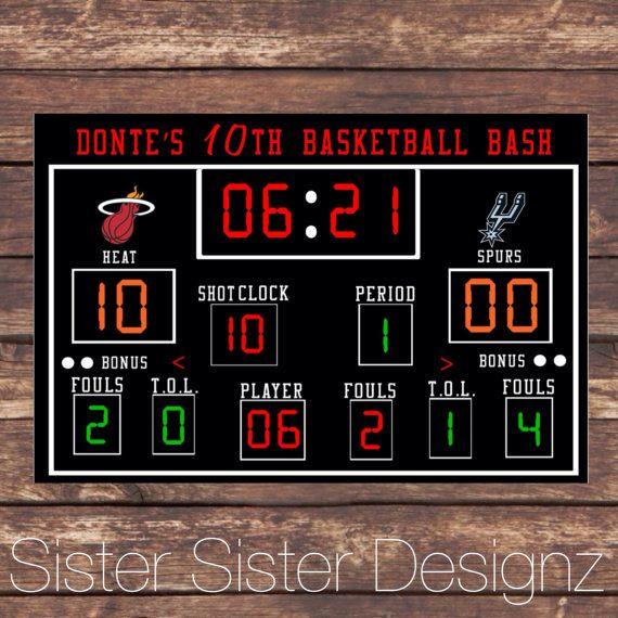 Printable Basketball Scoreboard  Basketball Party Basketball