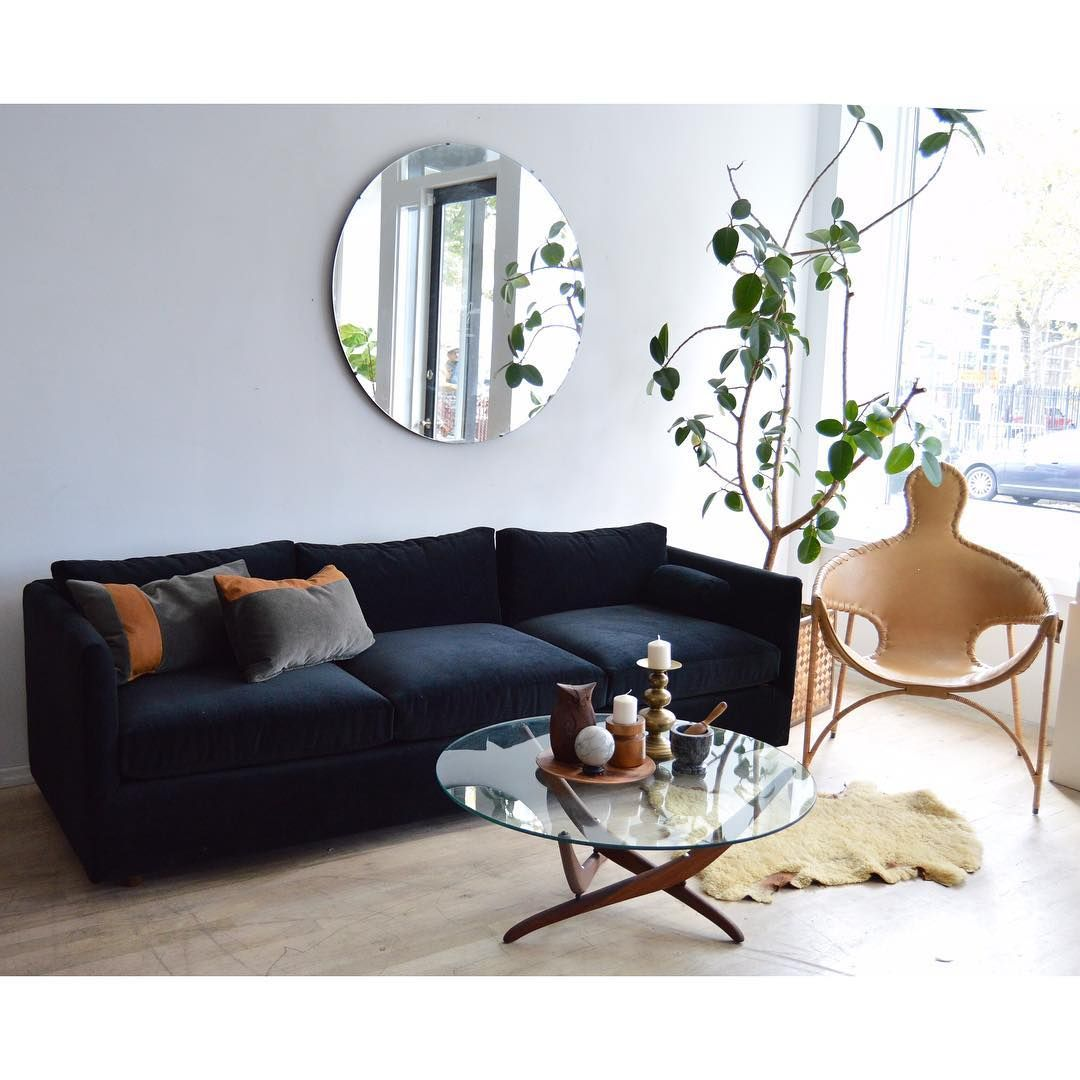 At Home By Porter James Black Velvet Sofa 2750 Francis Mair Leather People Chair 2750 Round Glass Wood Coffee Table 880 [ 1080 x 1080 Pixel ]