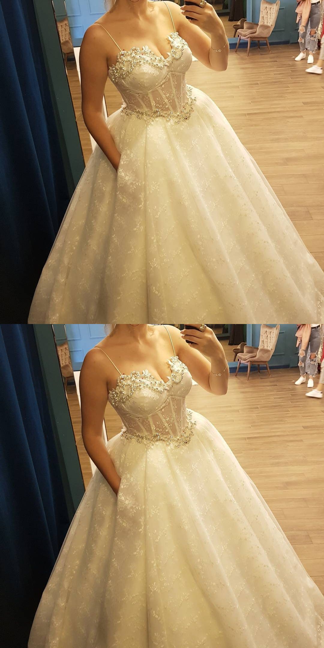 Sheer Corset Beaded Sweetheart Ball Gown Lace Wedding