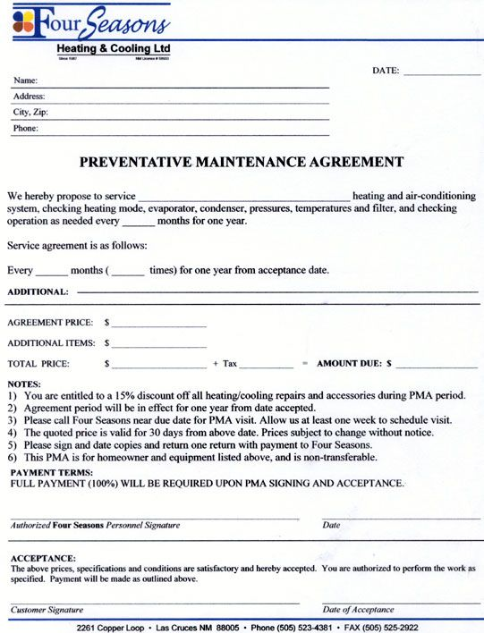 Service Agreement Contract Form - Maintenance Contract Agreement