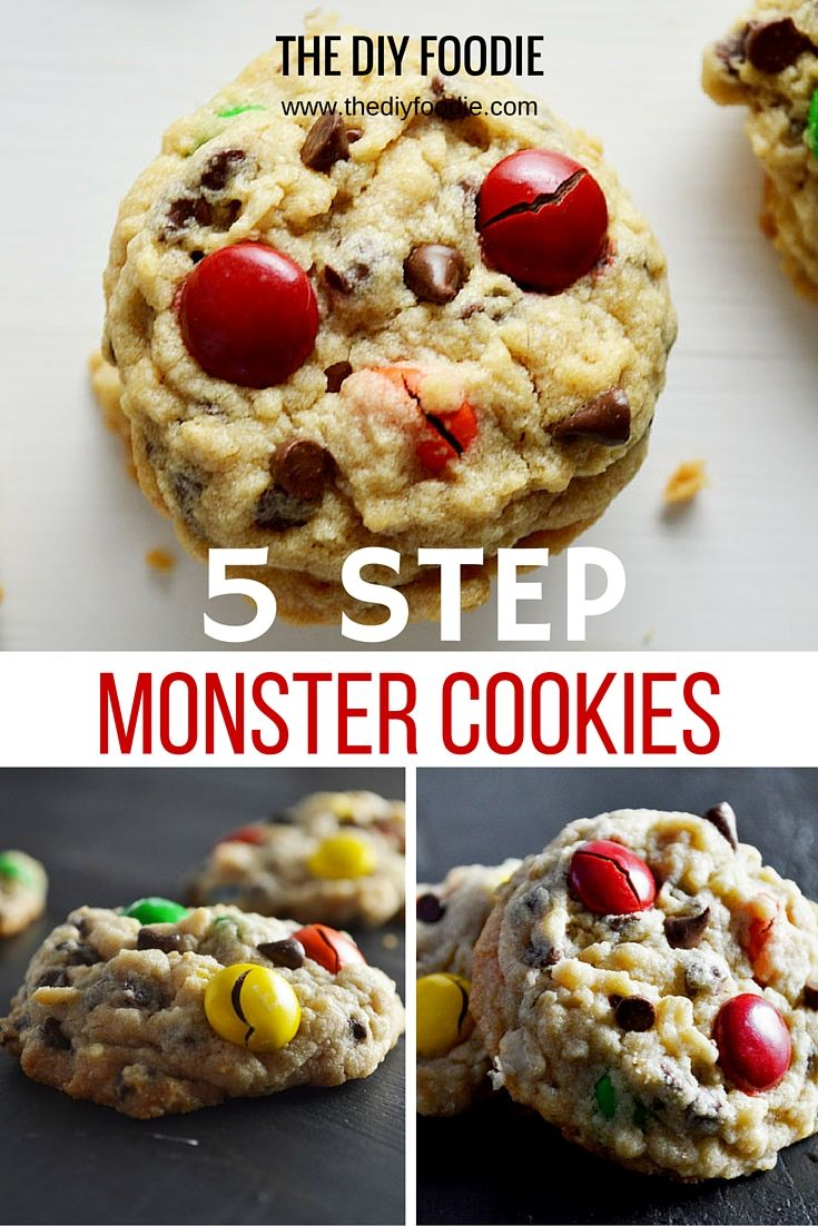 5 Step Peanut Butter Monster Cookies The Diy Foodie Recipe Monster Cookies Dessert Recipes Delicious Desserts