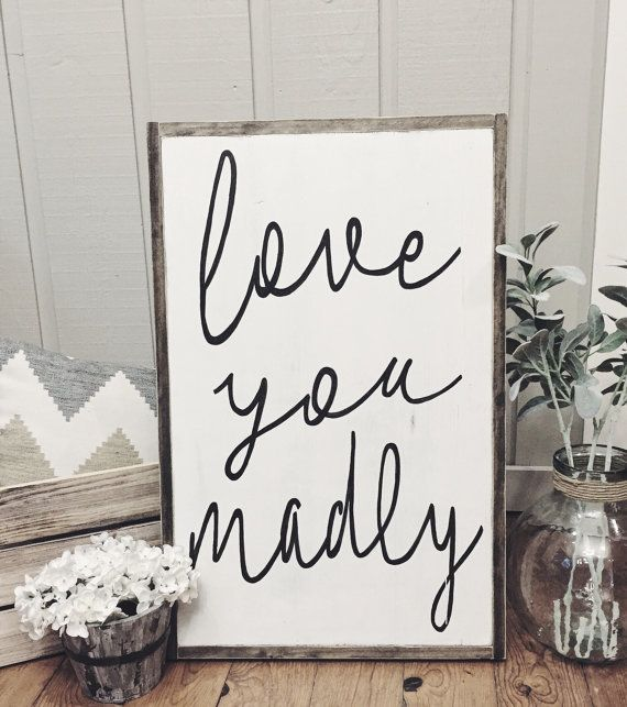 Wooden Signs For Home Decor Awesome Love You Madly Framed Wood Signhomewoodandwhimsydesigns Inspiration Design
