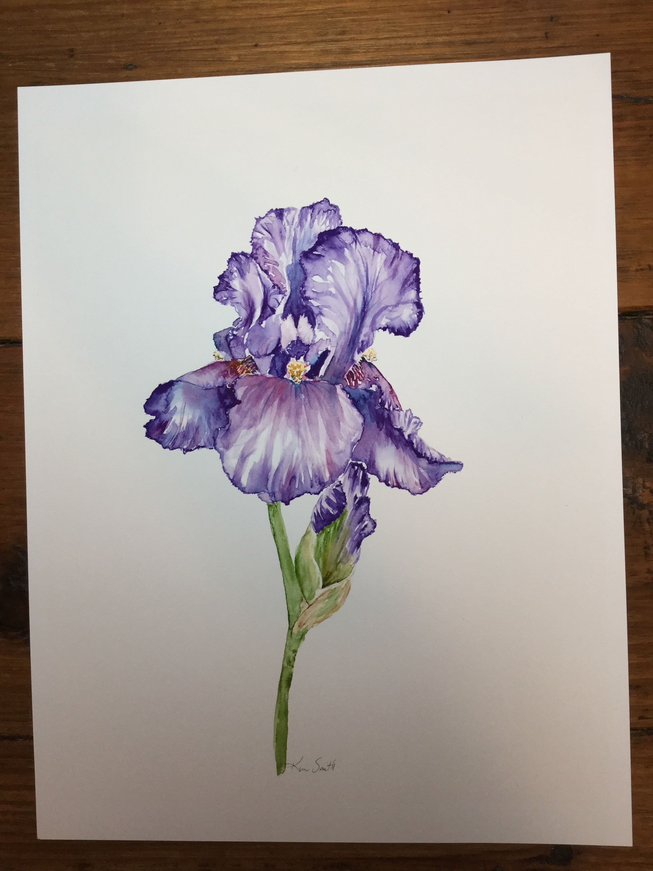 Watercolor Purple Iris 1 Etsy In 2020 Purple Flower Tattoos Purple Iris Iris Flower Tattoo