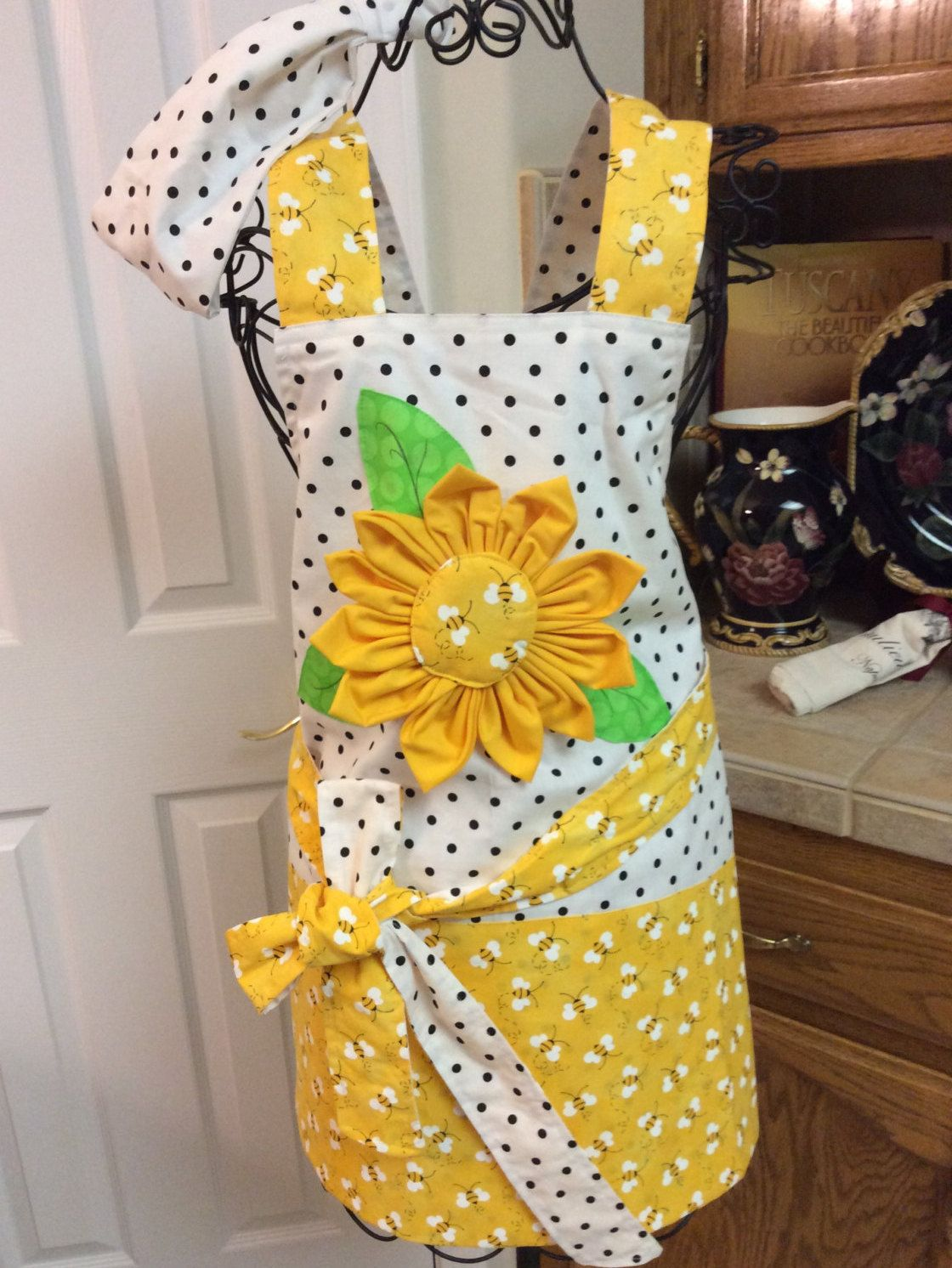 Sunflower u polka dot apron with matching wide headband fully lined