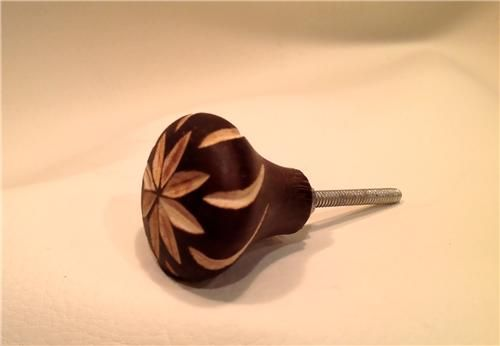 Carved Wood Rustic Cabinet Knobs Drawer Pulls
