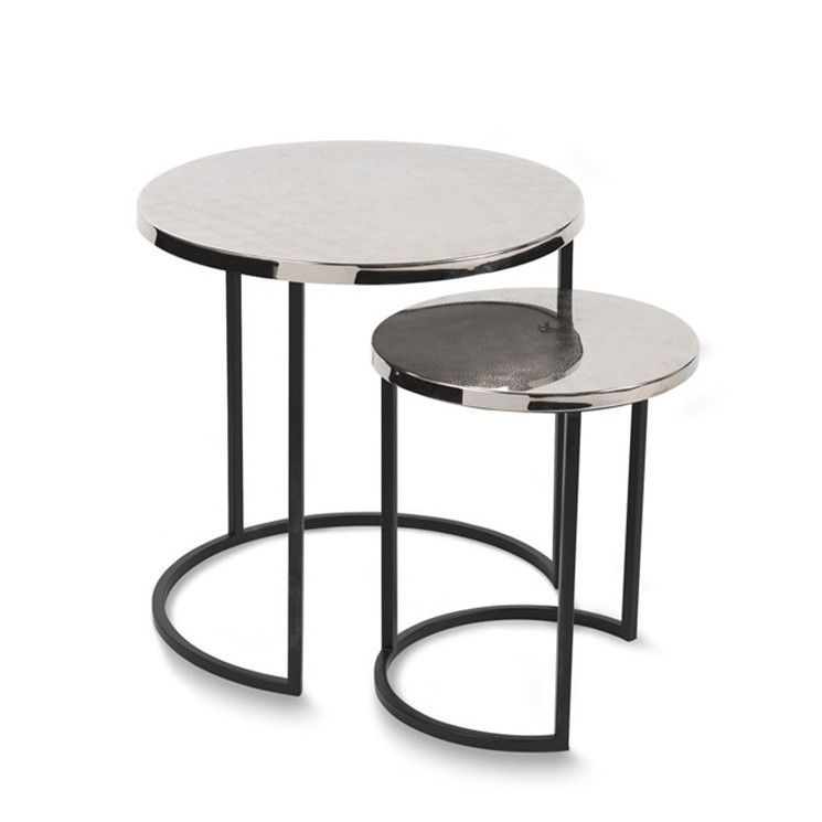 Mesa Silver and Black Nesting Side Tables Set of 2 by Citta Design ...