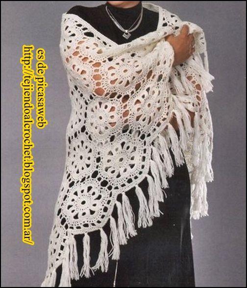 TEJIDOS A CROCHET - GANCHILLO - PATRONES: SHAWL crocheted