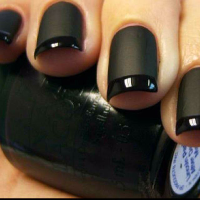 Black matte with glossy tips nail polish design