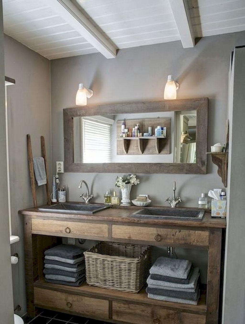 125 Stunning Farmhouse Bathroom Vanity Decor Ideas Rustic Bathroom Remodel Farmhouse Bathroom Decor Bathroom Vanity Decor