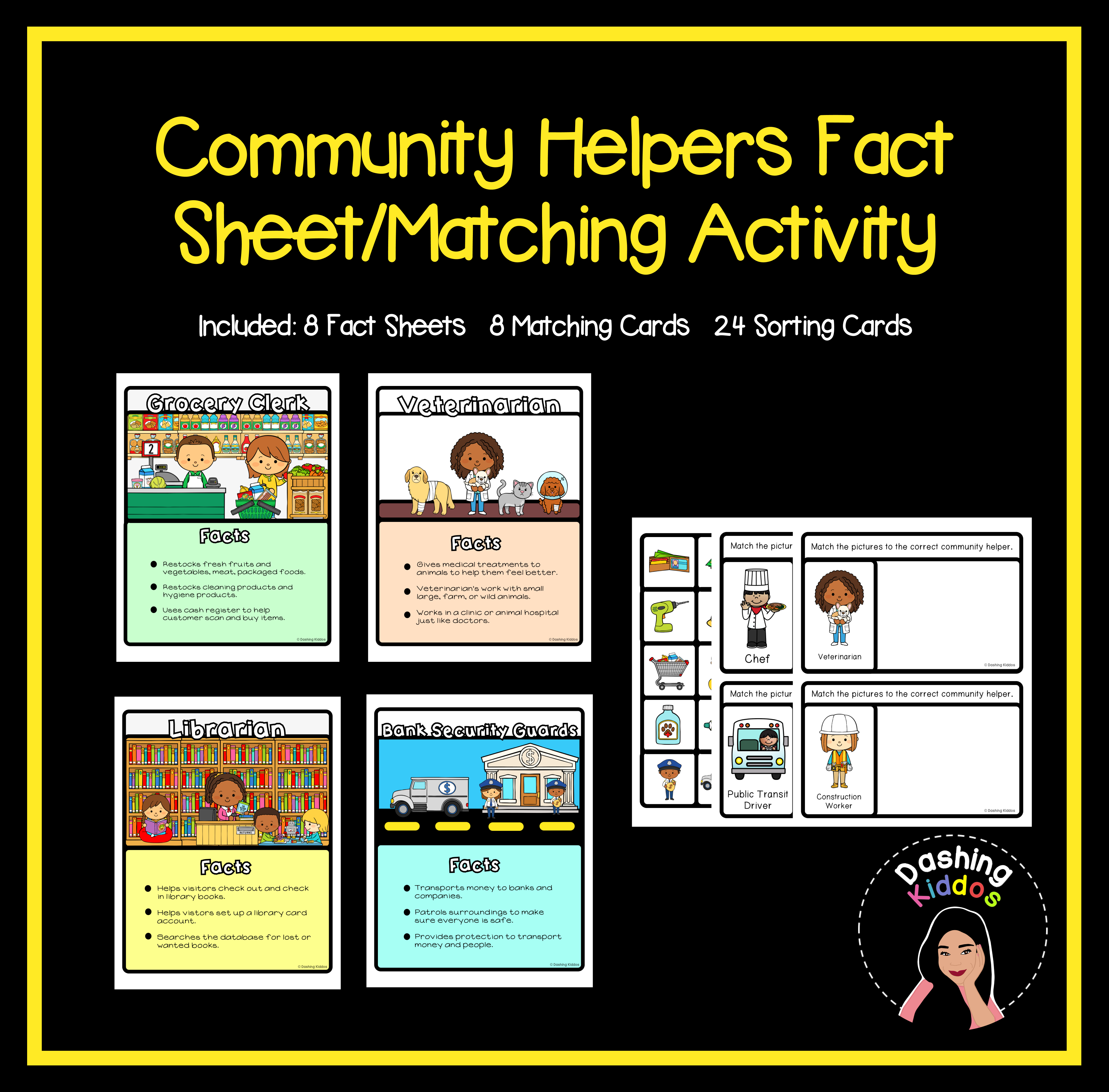 Community Helpers Fact Sheet Matching Activity In