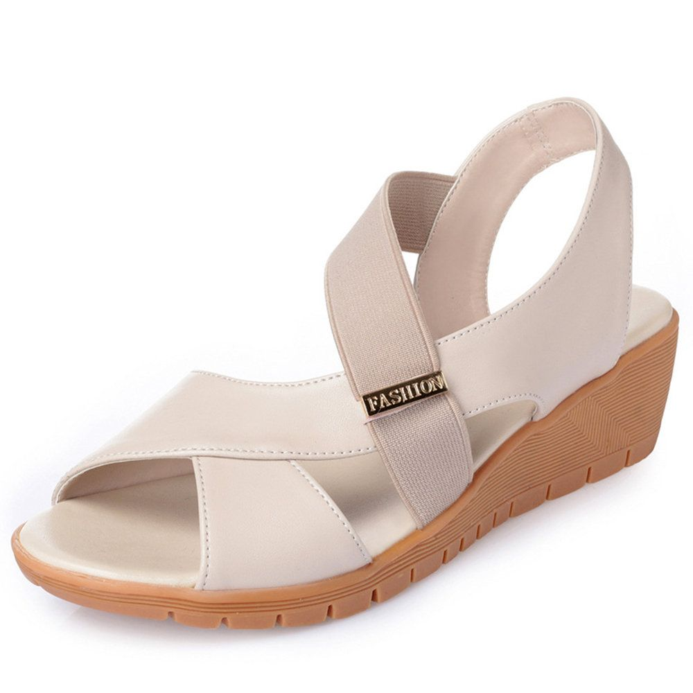 Highquality Splicing Slip On Pure Color Casual Wedges