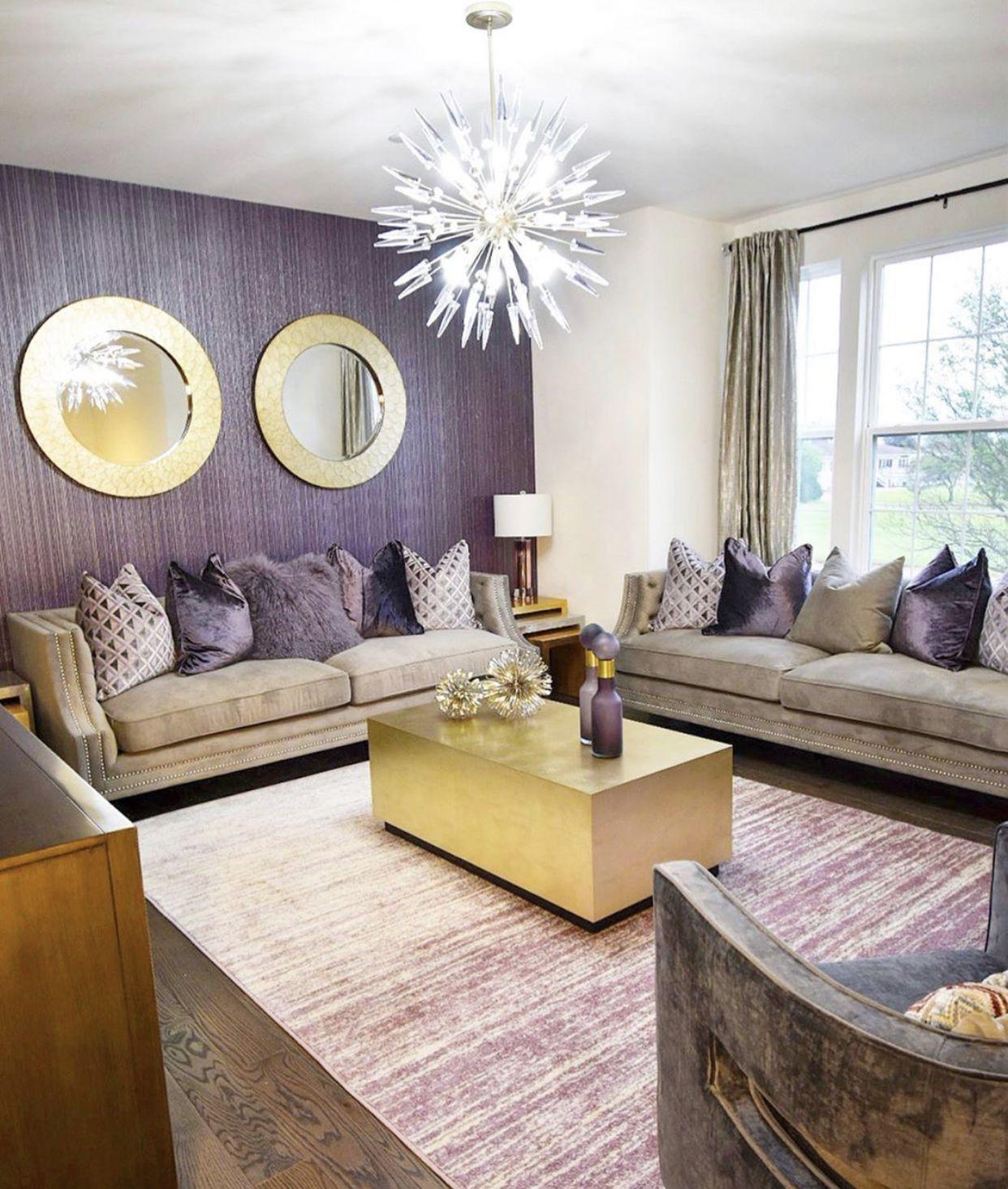 Glam Purple Gold Living Room Purple Living Room Gold Living Room Decor Living Room Colors Plum living room decor