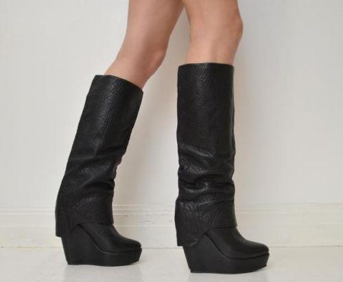 Sportsgirl Pebbled Leather Knee High Wedge Boots $200 Size 9 Black Platform   eBay