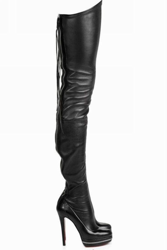 Womens Stiletto Heel Round Toe Platform Knee High Boot