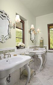 Traditional, even retro style vanities, mirrors, flooring.  Available at Decorative Materials.