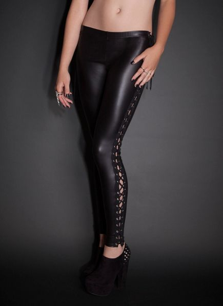See You Monday Lace-Up Sides Faux Leather Leggings | Clothing ...
