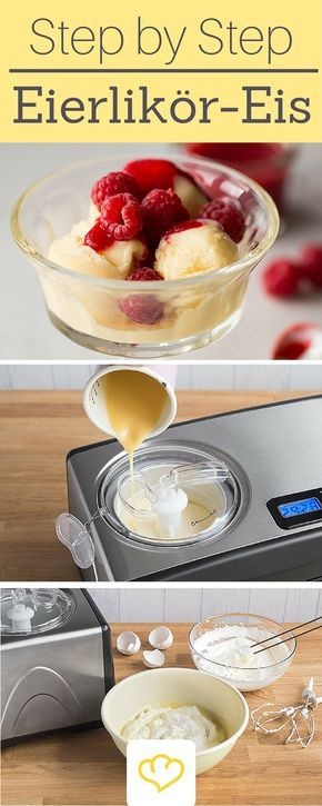 Photo of Eggnog ice cream with raspberry sauce: ice-cold chips from the ice cream maker